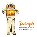 Beekeeper in protective gear holding honeycomb grid
