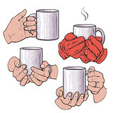 Set of female hands holding a cup with hot beverage