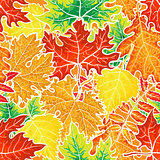 Bright and colorful autumn leaves seamless pattern