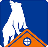 Bear On Roof Rectangle Retro