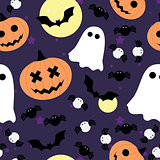 Vector seamless pattern for Halloween. Pumpkin, ghost, bat, and spider.