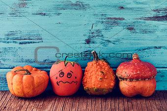 apple disguised as a pumpkin between different pumpkins