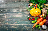 Harvest fresh vegetables autumn still-life on old