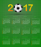 Soccer calendar for 2017 on green linen texture