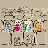 Couple love in cinema theater watching movie