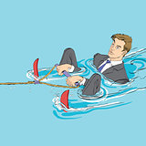 Business startup concept. Businessman in water skiing