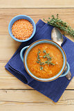 homemade tasty red lentil soup with thyme