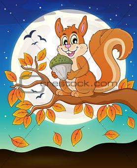 Autumn branch with squirrel