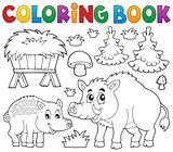 Coloring book with wild pigs theme 1