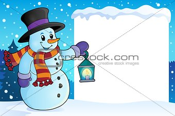 Frame with snowman topic 4