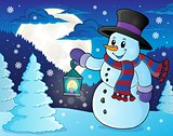 Snowman with lantern theme image 3