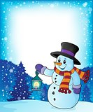 Snowman with lantern theme image 4