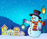 Snowman with lantern theme image 5