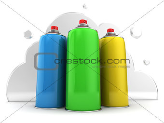 three spray bottles