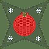 Christmas and New Year knitted label. Snowflake and greeting card.