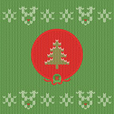 Christmas and New Year knitted label with pine. Snowflake greeting card.