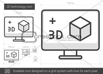 Three d technology line icon.