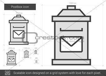 Postbox line icon.