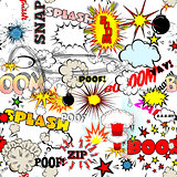 Seamless Comic Book Explosion, Bombs And Blast Set. Bubbles for speech, different sounds vector