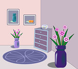 Interior with goldfish bowl and flowers.