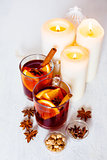 Christmas festive drink, mulled wine with spices