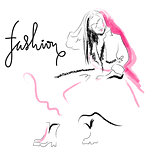 Fashion sketch drawing girl.