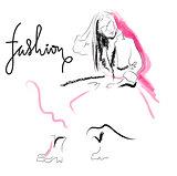 Fashion sketch drawing girl.
