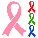 Pink, red, green and blue ribbons