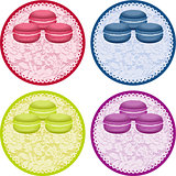 Set macaroons round lace label