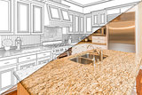 Diagonal Split Screen Of Drawing and Photo of New Kitchen