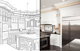 Split Screen Of Drawing and Photo of New Kitchen