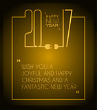 2017 Happy New Year Flat Style Background with stylized wire cables