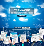Teamwork Business concept with doodles Sketch background