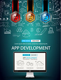 App Development Infpgraphic Concept Background with Doodle design