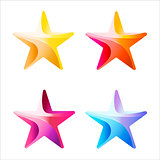 Set of Colorful stars stripped color.