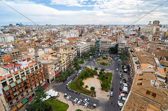 Aerial view of Valencia in a cloudy day. Valencia, Spain.