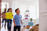 Hispanic Family Moving Into New Home