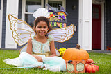 Portrait Of Girl Dressed In Trick Or Treating Fairy Costume