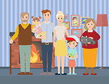 Big modern family at home vector illustration