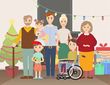Big Christmas family at home vector illustration