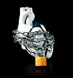 Illustraton Anatomy of Lock Human Heart - Isolated on black