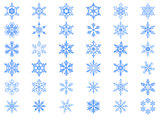 Big set of 36 blue snowflakes