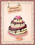 birthday card with cake tier  and roses