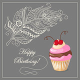 birthday card with cake, cherry and feather