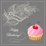 birthday card with merinque cake, cherry and feather