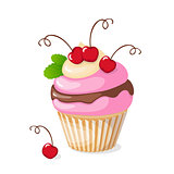 isolated cupcake with cherry