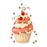 isolated cupcake with red currant