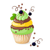isolated cupcake with black currant