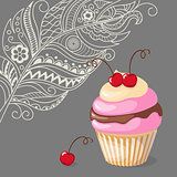 cupcake with cherry on the boho background