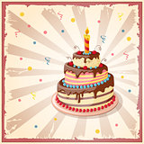 birthday card with cake tier, candle and cherry